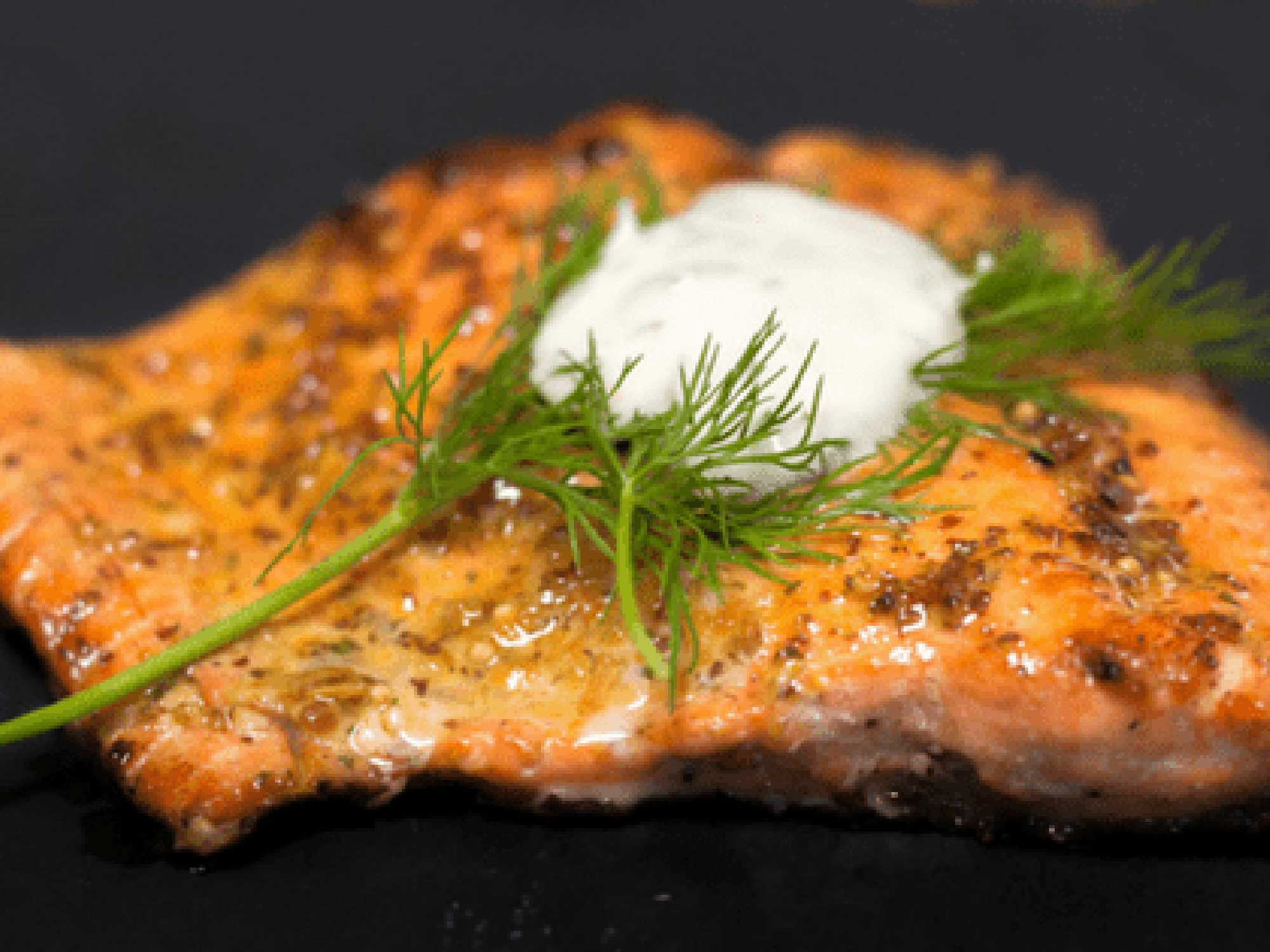 Sous Vide Salmon with Crispy Skin & Lemon Dill Sauce