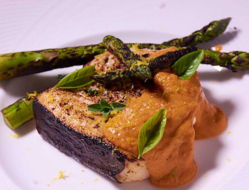 Sous Vide Swordfish with Romesco Sauce