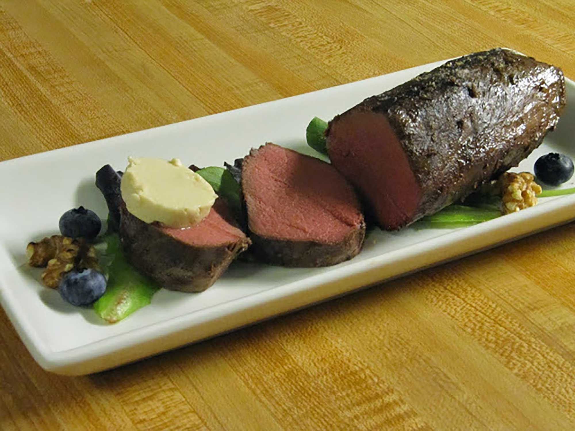 Sous Vide Venison Loin with Hazelnut Coffee Maple Butter