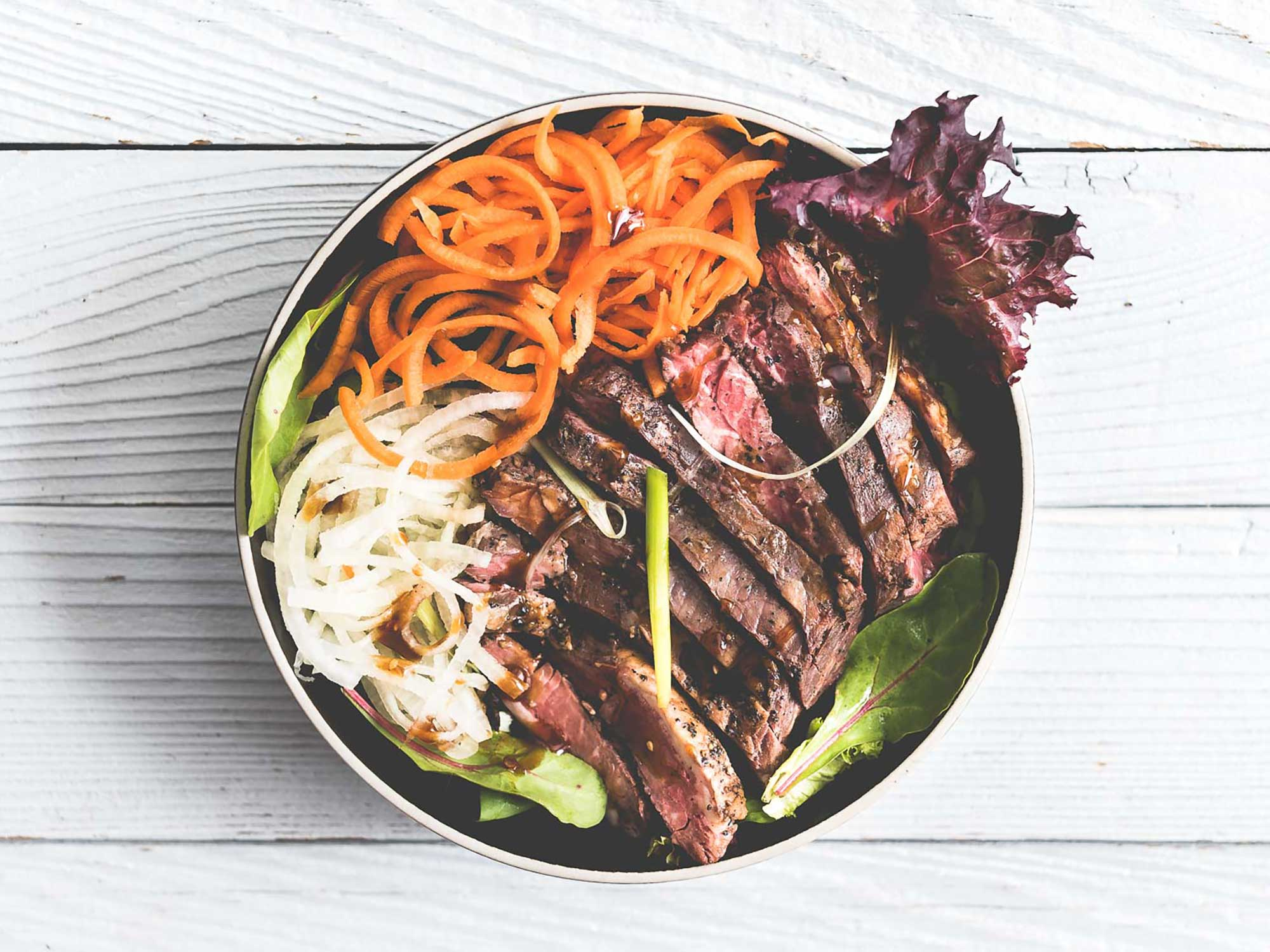 Spicy Teriyaki Sous Vide Skirt Salad Bowl
